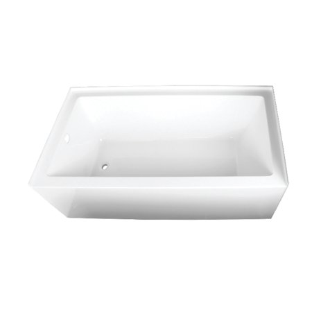 - Aqua Eden 66-Inch Acrylic Alcove Tub with Left Hand Drain Hole, White