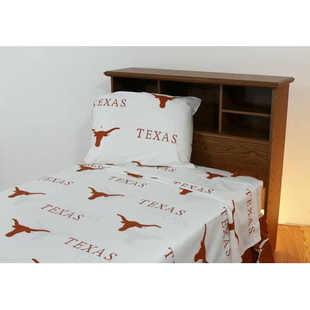 Texas Longhorns 100% cotton, 4 piece sheet set - flat sheet, fitted sheet, 2 pillow cases, Queen, White