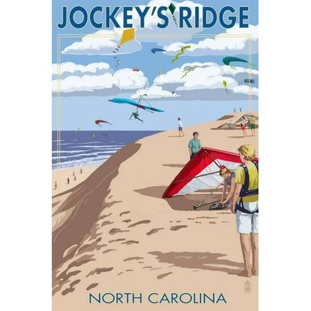 Jockey's Ridge Hang Gliders and Kite Flyers - Outer Banks, North Carolina Print Wall Art By Lantern Press ()