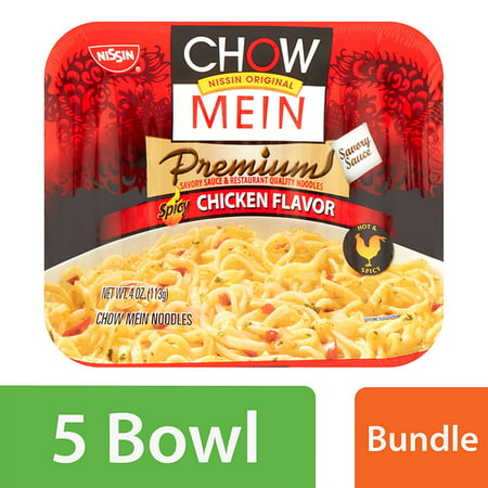 (5 Pack) Nissin® Chow Mein Premium Spicy Chicken Flavor Chow Mein Noodles 4 oz. (Best Store Bought Lo Mein Noodles)