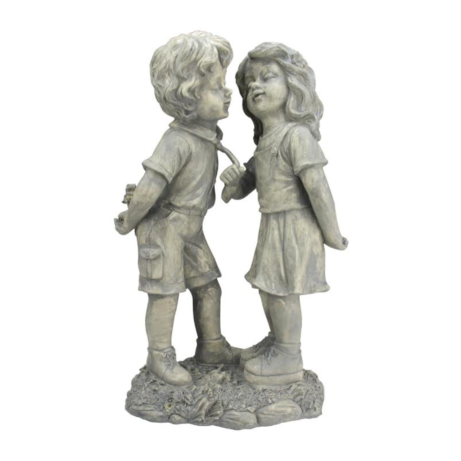 """18.5"""" Weathered Gray Stone Boy & Girl First Kiss Outdoor Patio Garden Statue by Northlight"""