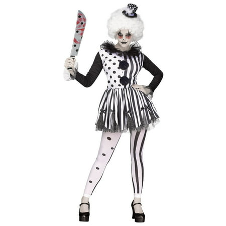 Womens Freak show Killer Clown Tutu Dress and Hat Halloween Tights Adult Costume - Regular Show Halloween Iv