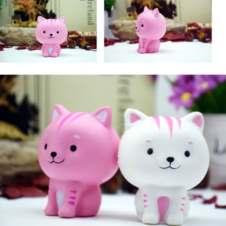 Cartoon Cat Squishy Slow Rising Phone Straps Cute Kitten Soft Squeeze Bread Charms Scented Kids Toy Style:white - image 5 de 6