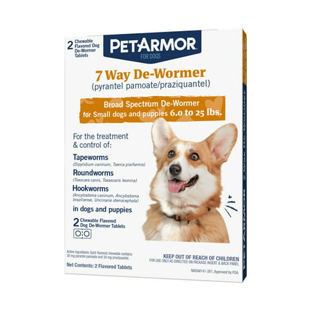 PetArmor 7 Way De-Wormer for Puppies & Small Dogs, 2 Chewable (Strongid Dewormer)