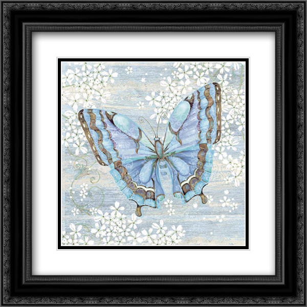 Blue Butterfly 2x Matted 20x20 Black Ornate Framed Art Print by P.S. Art Studios