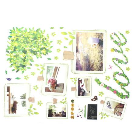PVC Flower Leaves Pattern Removable DIY Photo Frames Glow Wall Sticker Decal - image 4 de 5