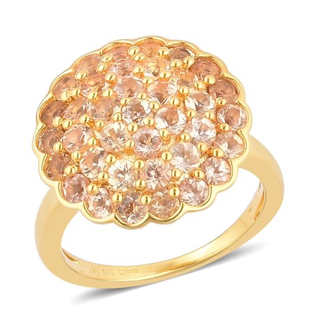 Round Gold Pave Ring (925 Sterling Silver Yellow Gold Plated Round Imperial Topaz Pave Cluster Ring for Women Cttw)