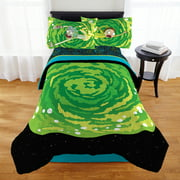 Adult Swim Rick & Morty Bed in a Bag, Bedding Bundle Set, Microfiber, Green Portal, 4-Piece TWIN