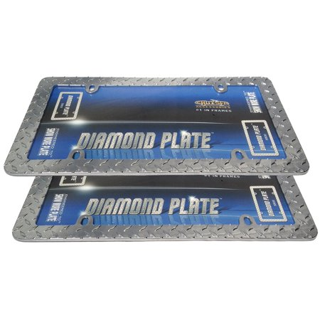 (Classic Frames Diamond Plate Chrome Metal License Plate Frames - Heavy Duty Grid Iron Pattern - Pair, Fits Standard Size USA Plates 6 By Unique Imports)