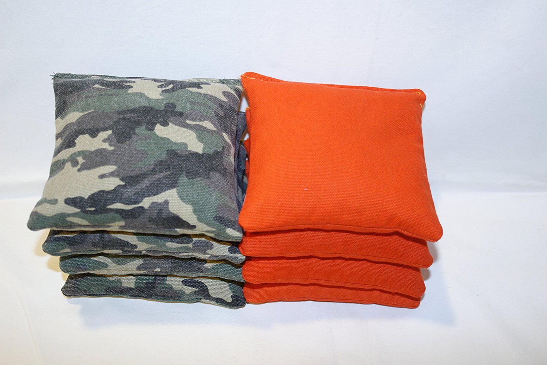 Cornhole Bags: Set of 8 Free Donkey Sports Camo and Orange ACA regulation cornhole bags. by Free Donkey Sports?