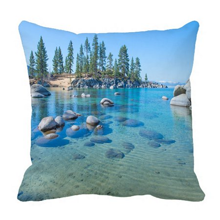 PHFZK Nature Scenery Pillow Case, Beautiful Blue Water on the Shore of the Lake Pillowcase Throw Pillow Cushion Cover Two Sides Size 18x18 (Beautiful Blue Water)