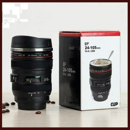 Brand New 24-105mm Stainless Lens Thermos Camera Travel Coffee Tea Mug Cup (Farbe: Schwarz)