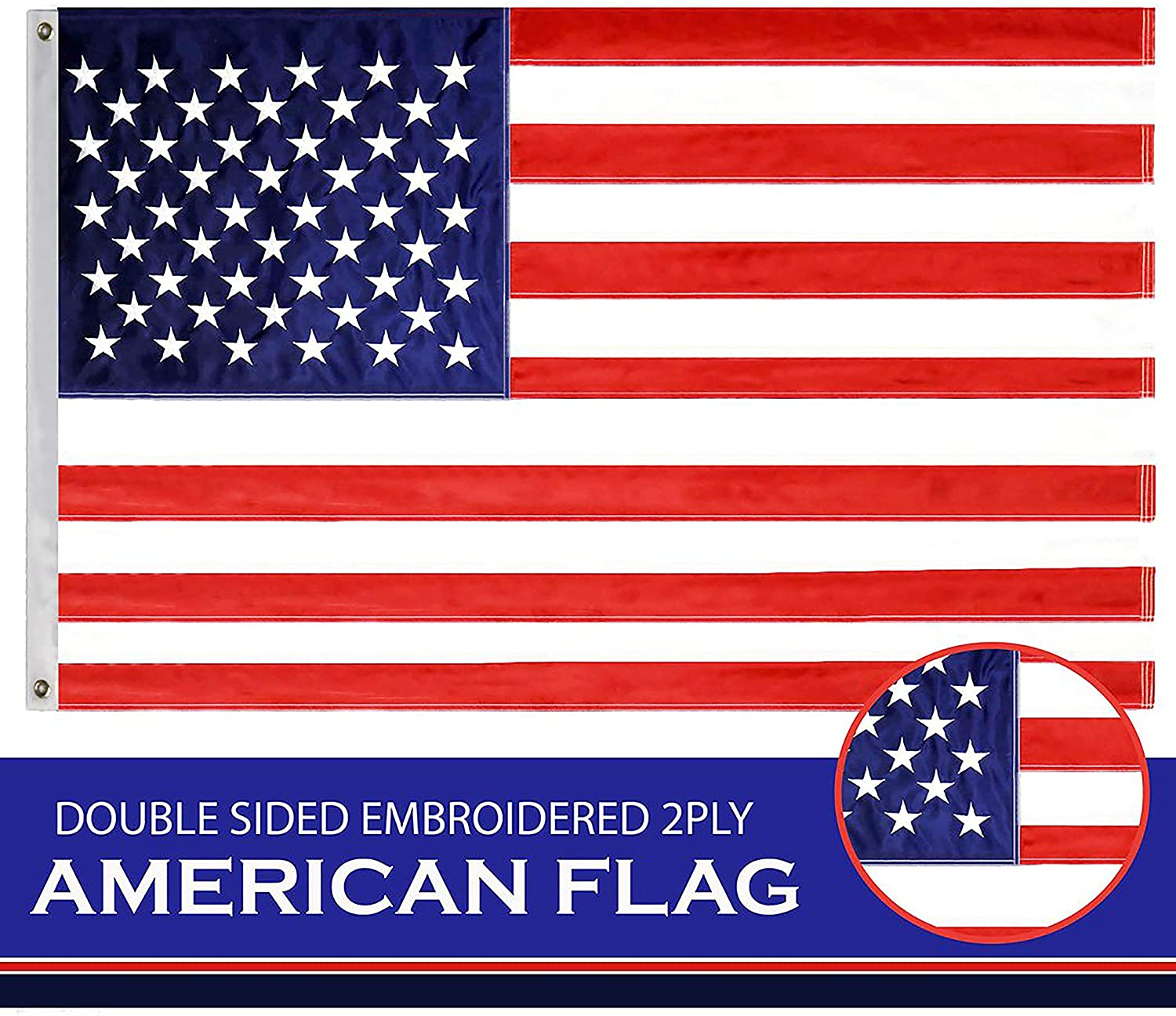 Embroidered Stars Sewn Stripes Brass Grommets 3x5 ft American Flag USA US U.S