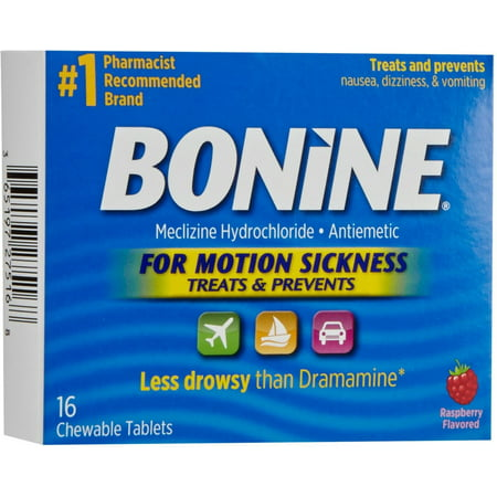 Bonine Chewable Tablets for Motion Sickness, Raspberry 16