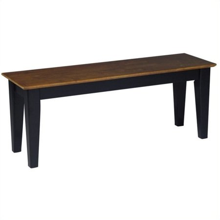 Pemberly Row Shaker Dining Bench in Black and Soft Cherry