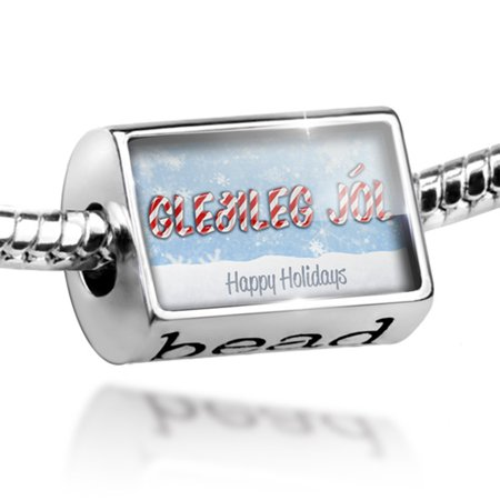bead merry christmas in icelandic from iceland charm fits all european bracelets - Merry Christmas In Icelandic