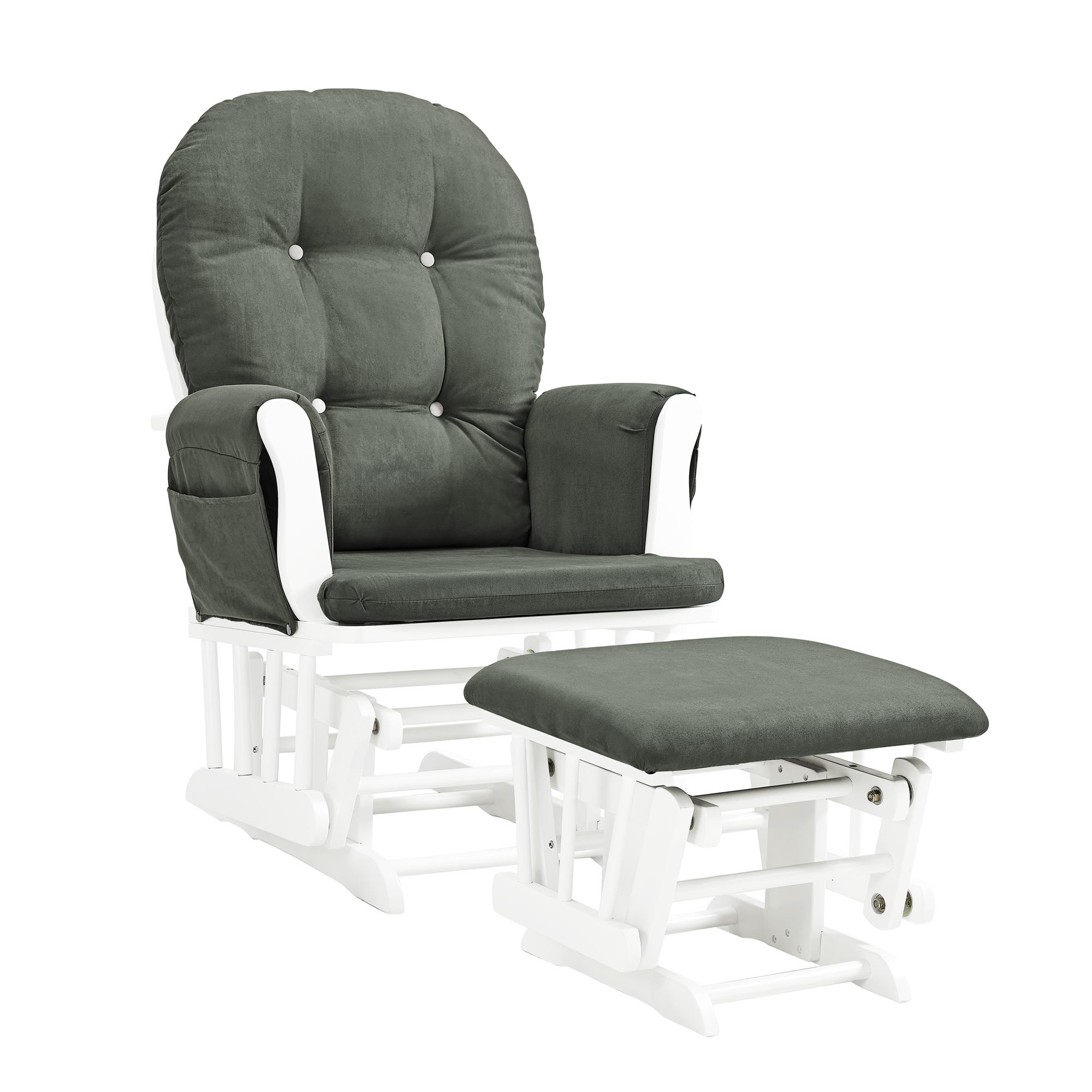 Glider Chair And Ottoman Nursery Rocking Furniture Baby Rocker Seat White//Grey