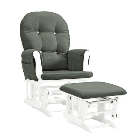 Baby Relax Carly Gray & White Nursery Glider & Ottoman