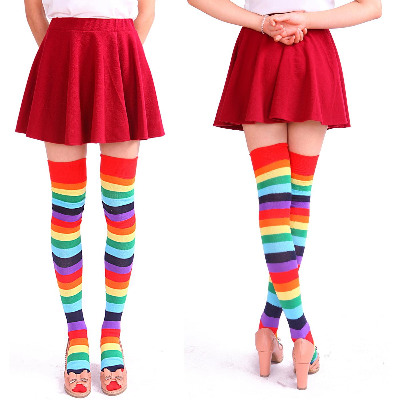 Ladies Girls Long BLACK//RAINBOW Over The Knee Striped Socks
