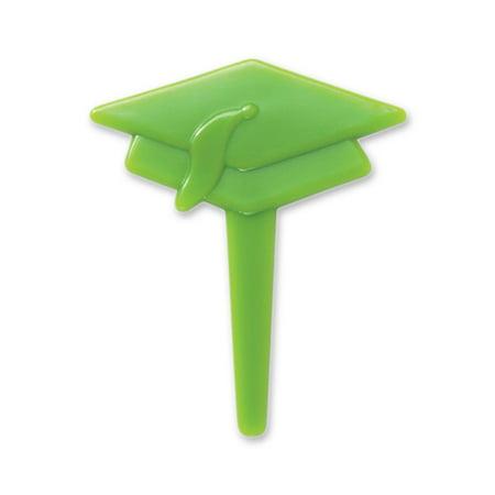 Green Graduation Cap Cupcake Picks - 24 - Graduation Cap Lights