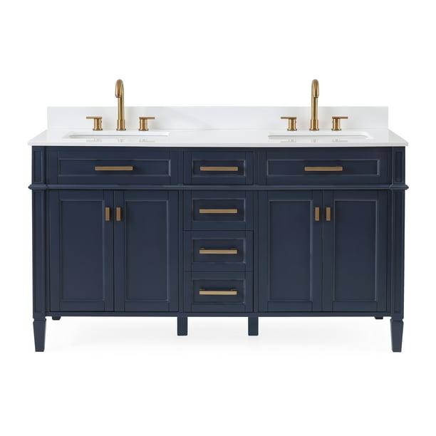 60 Tennant Brand Durand Modern Navy Blue Double Sink Bathroom Vanity 1808 D60nb Walmart Com Walmart Com