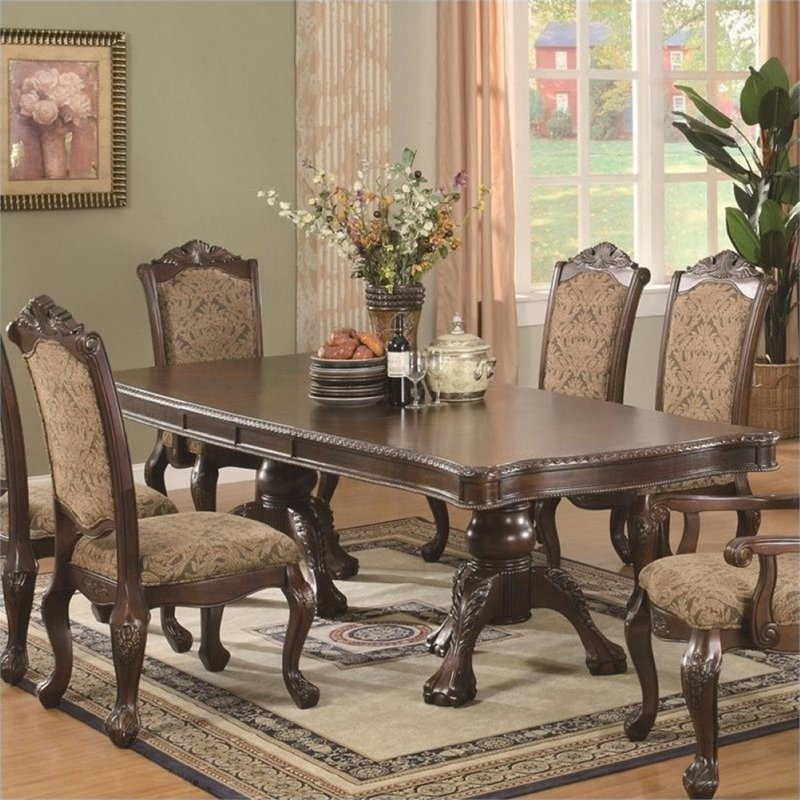 Bowery Hill Andrea Double Pedestal Dining Table in Brown Cherry by Bowery Hill