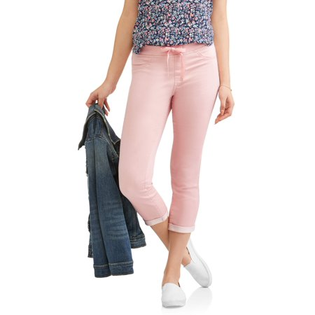 Juniors Pull On Crop Capri Pants W Ribbed Waistband  Up To 2Xl