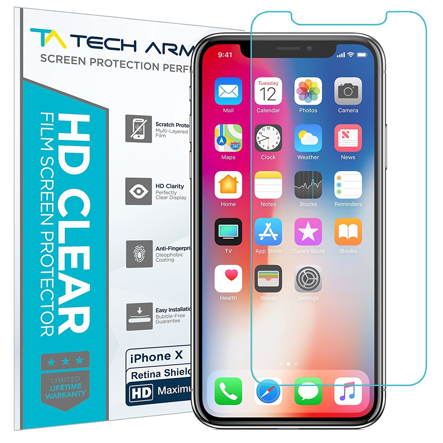 Tech Armor Apple iPhone X (iPhone 10) Blue Light Filter Retina Shield Film Screen Protector [1-Pack]