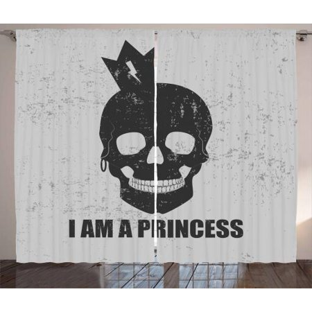 I am a Princess Curtains 2 Panels Set, Skull with a Crown Skeleton Halloween Theme Grunge Look, Window Drapes for Living Room Bedroom, 108W X 63L Inches, Charcoal Grey and Pale Grey, by Ambesonne (Skeleton Princess)