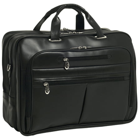 McKlein ROCKFORD, Checkpoint-Friendly Laptop Briefcase, Top Grain Cowhide Leather, Black (86515) Leather Rolling Briefcase