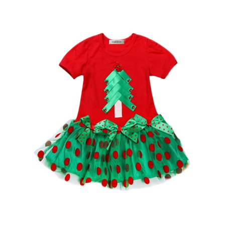 7a1128058aad2 StylesILove Baby Girl Christmas Tree Bow Sequin Dot Mesh Skirt (2-3 Years)