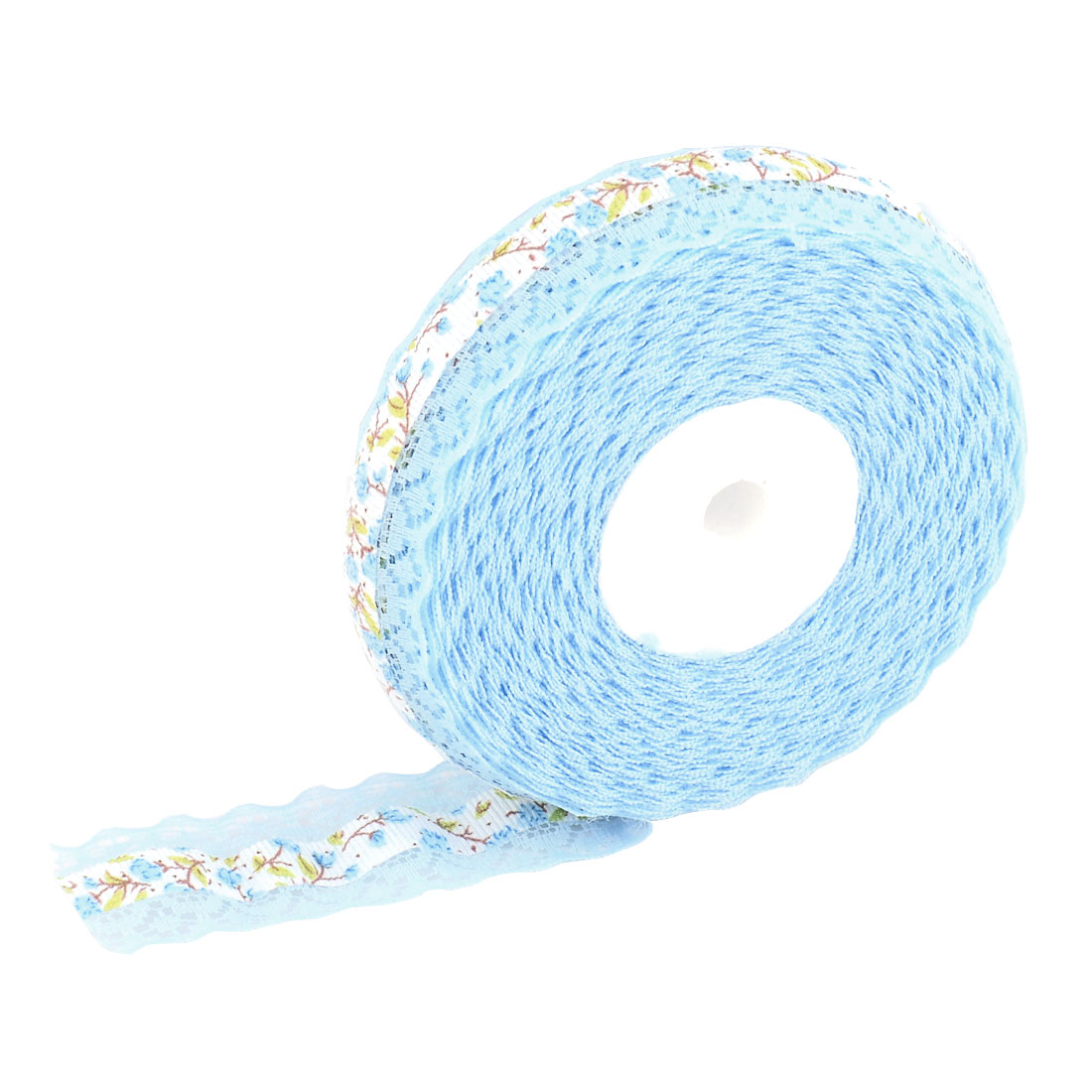 Household Wedding Lace Floral Pattern Decorative Crafting Ribbon Roll Light Blue - image 4 of 4