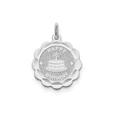 - Happy Birthday Disc Charm In 925 Sterling Silver 26x20mm