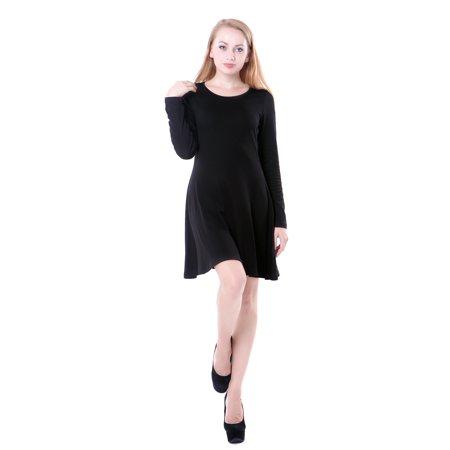 HDE Women's Casual Cotton Jersey Knit Black Long Sleeve Slip-On Mini Skater Dress (Black, XXL)