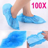 Topeakmart 100 Pcs Disposable Shoe Covers Plastic Covers for Indoor Protective Carpet Floor