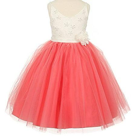 286148bba BNY Corner - Flower Girl Dress Two Tone Knee Length V-Neck Lace Top for  Little Girl Coral 8 TR.1033 - Walmart.com