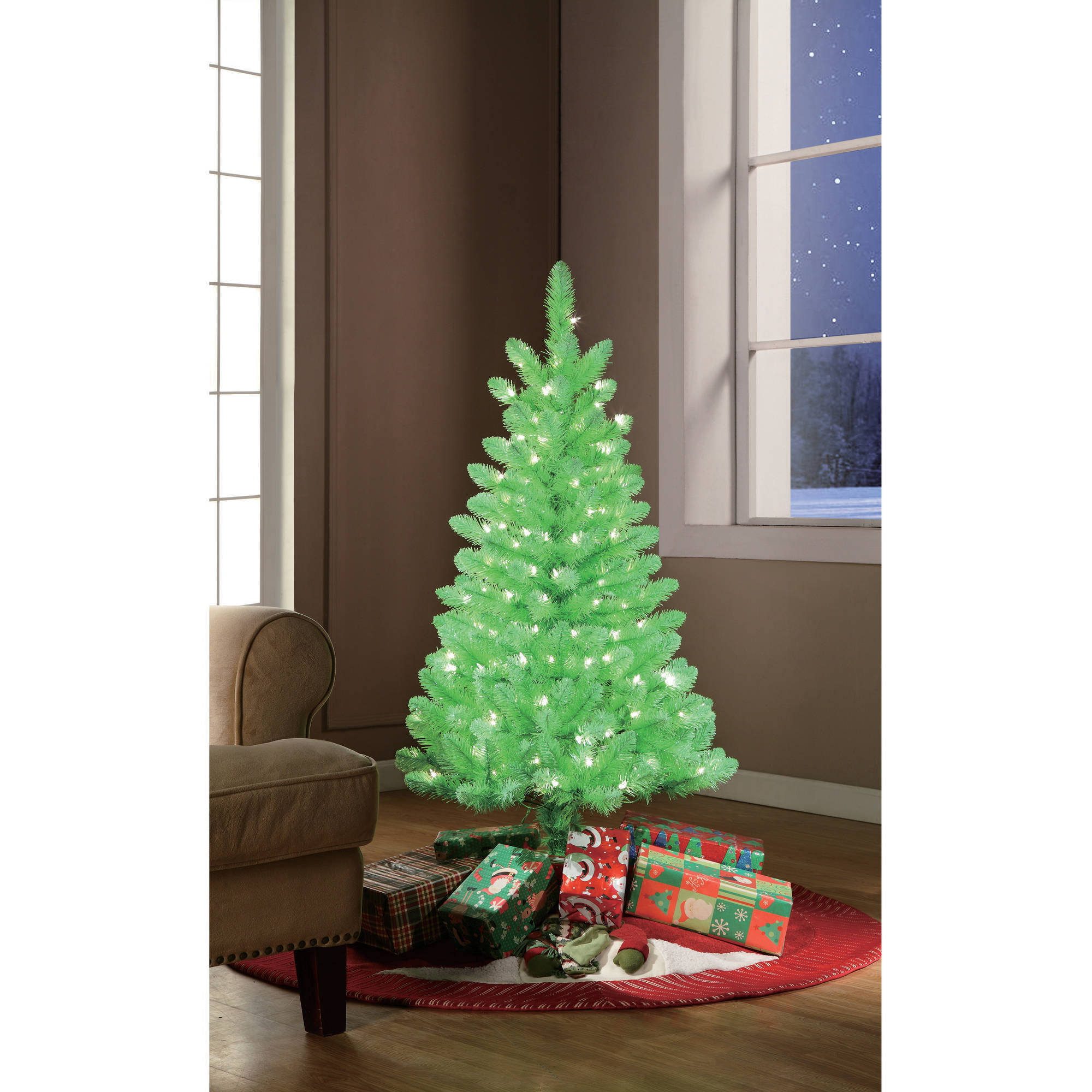Holiday Time Pre-Lit 4\' Lime Green Artificial Christmas Tree, Clear ...
