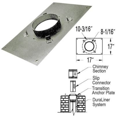 DuraVent  8DT-AP17x17  Class A  8 Inch DuraTech  Vent Pipe  Anchor Plate  ;Galvanized