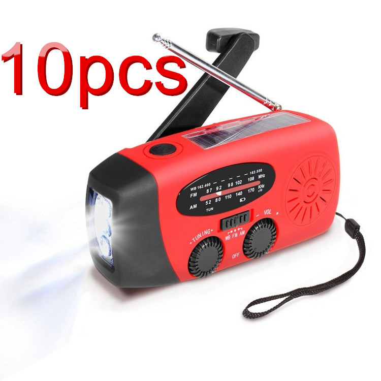 10PACK Hand Crank Emergency Radio, Portable Dynamo Solar Radio , AM FM WB Weather Radio LED Flashlight Smart Phone Charger Power Bank by OCDAY