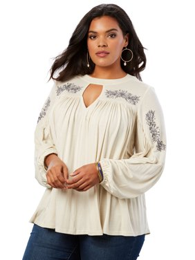 ff1d8320d89 Product Image Roaman's Plus Size Embroidered Banded Neck Tunic