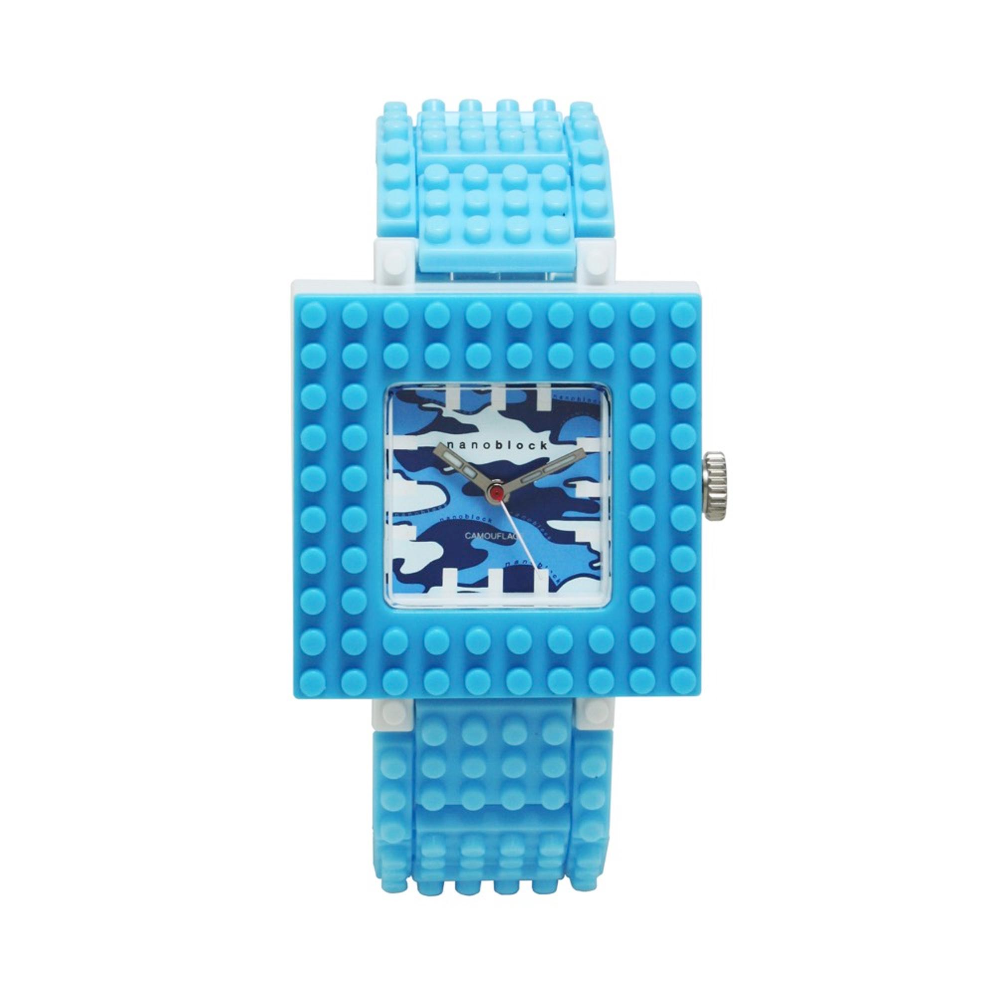 Nanoblocktime Nano Camo Squared Watch, Light Blue Camo by Nanoblocktime