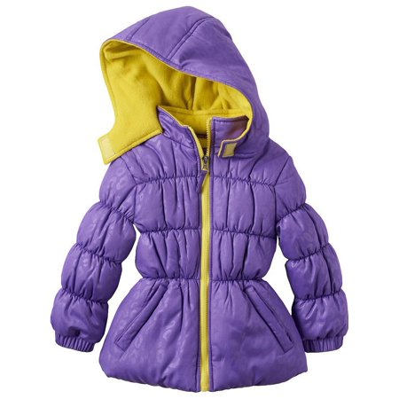 - Little Girls Purple Lime Zipper Hooded Winter Puffer Coat 4