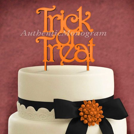 AMonogram Art Unlimited Trick And Treat Wooden Cake Topper