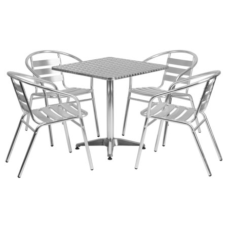 Flash Furniture Outdoor Patio Dining Set, Aluminum Table with 4 Chairs, Multiple Shapes and Sizes ()