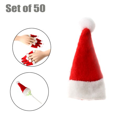 Mini Santa Claus Hats Lollipop Christmas Candy Hat for Holiday Xmas Party Top Topper, 50pcs