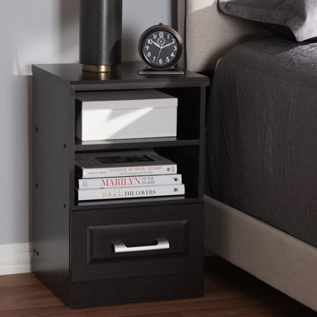 Baxton Studio Odelia Modern and Contemporary Wenge Brown Finished 1-Drawer