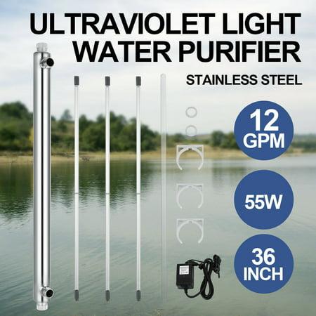 VEVOR 12 GPM 55W Ultraviolet Light Water Purifier Whole House UV Sterilizer Ultraviolet Water Sterilizer