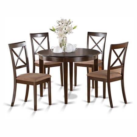 East West Furniture Boston 5 Piece Round Dining Table Set with Microfiber Seat Chairs ()