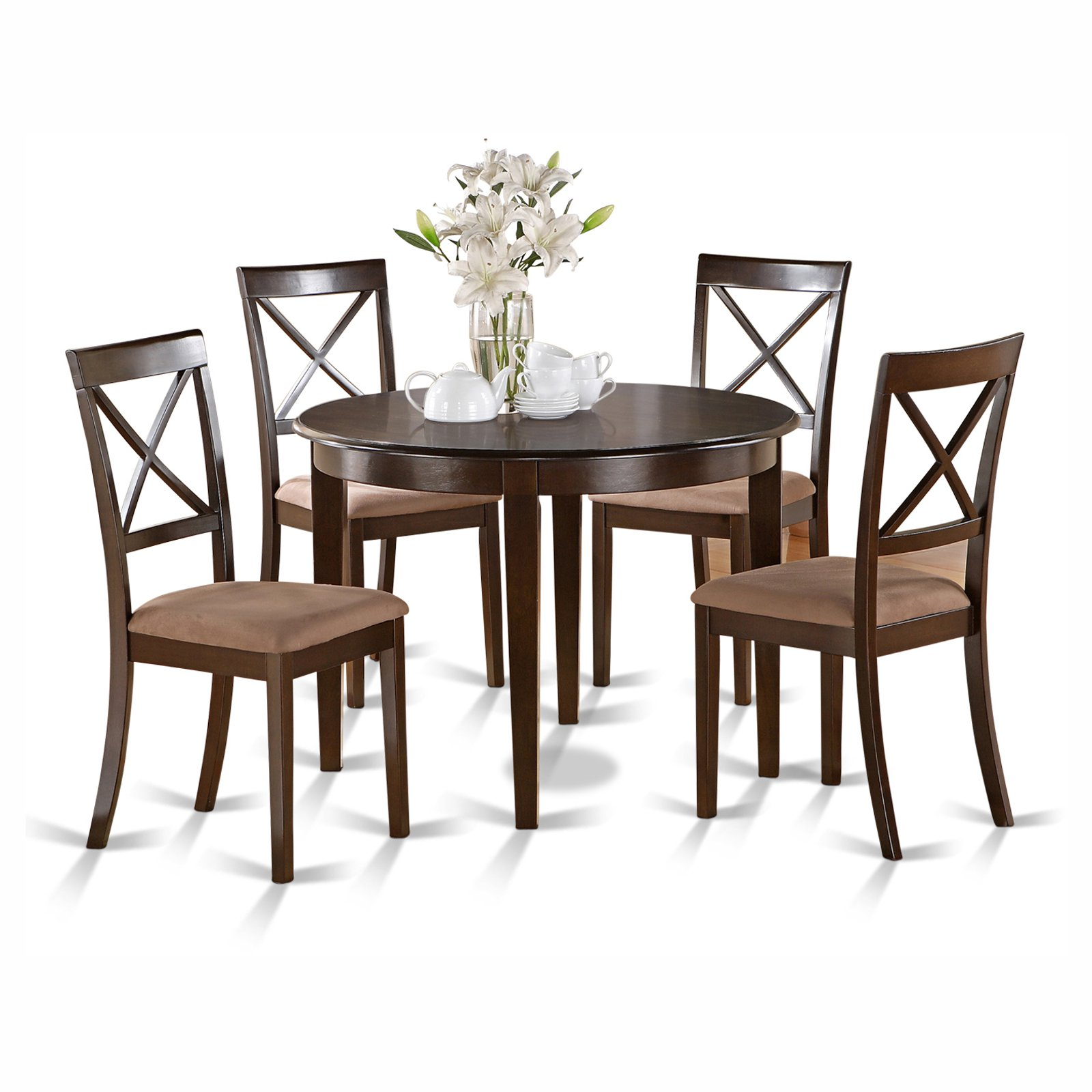 East West Furniture Boston 5 Piece Round Dining Table Set with Microfiber Seat Chairs