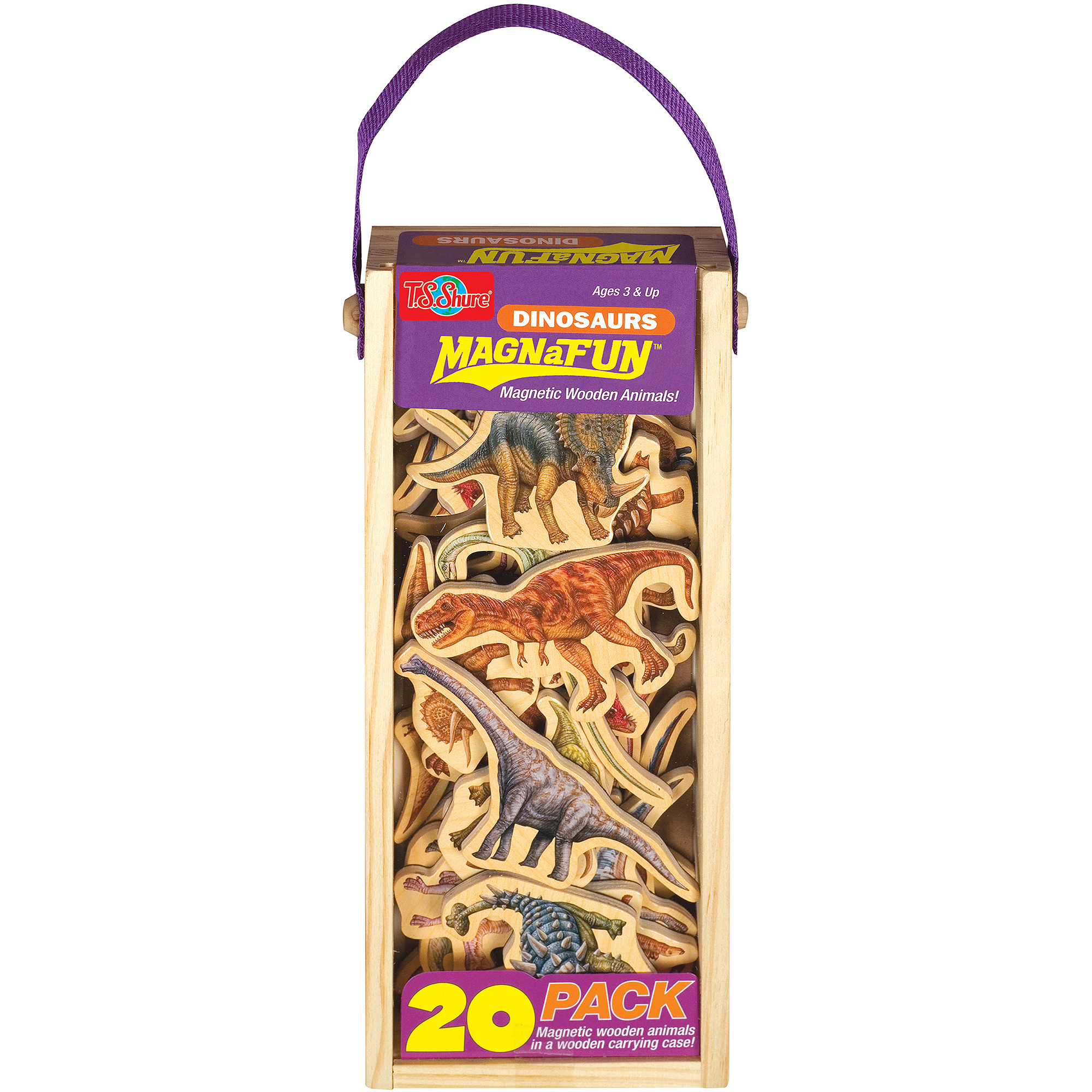 T.S. Shure Dinosaurs Wooden Magnets MagnaFun Set, 20 Pieces